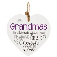 Ceramic Heart Shaped Hanging Sign 'Grandmas Are A Blessing......